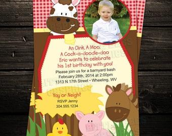 Petting Zoo Invitation, Barnyard Birthday invite, Farm Invitation, First Birthday Party Printable Photo Invitation  -- Any Color