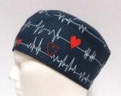 Mens Scrub Hat or Surgical Cap EKG on Black or White