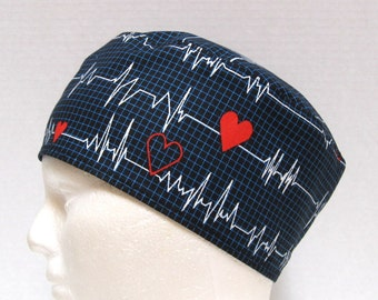 Mens Scrub Hat or Surgical Cap EKG on Black or White