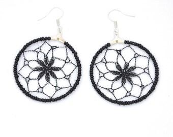 Delicate Lace Dreamcatcher Crochet Earrings in Black