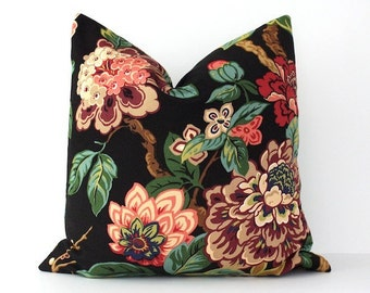 Modern Black Pink Decorative Designer Pillow Cover Accent blossoms oriental floral chinoiserie green cream gold blue red purple jacobean