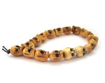12mm x 9mm Ox Bone Carved Skull Head Tibet Buddhist Prayer Beads Wrist Mala Bracelet  T3068