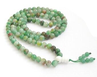 8mm Green Flower Stone 108 Rosary Beaded Tibet Buddhist Prayer Beads Mala Necklace  ZZ205