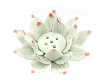 Porcelain Tibetan Buddhist Auspicious Lotus Flower Incense Holder 89mm x 89mm x 38mm  T3129