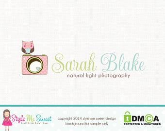 Premade Camera Logo Owl Logo Photography Logo Small Business Branding Hand Drawn