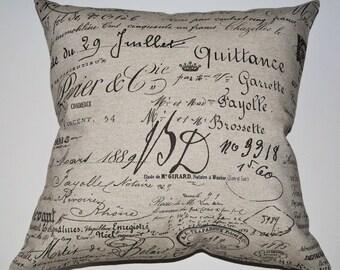French Document Script designer Pillow Cover 20x20