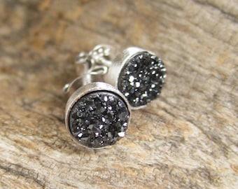 Tiny Black Druzy Studs Titanium Drusy Quartz Sterling Silver Bezel Set Earrings
