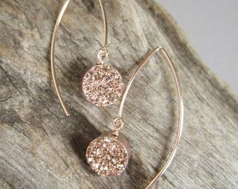 Rose Gold Druzy Earrings Titanium Drusy Quartz
