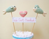 Fish Wedding Cake Topper, We Got Hooked Cake Sign Banner, Nautical Blue Wedding Decor