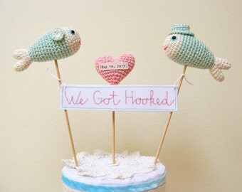 Fish Cake Topper, We Got Hooked, Beach Wedding Cake Topper, Nautical Blue Wedding Decor