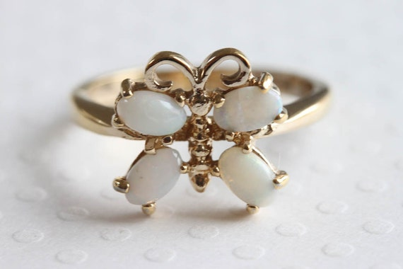 Vintage Butterfly Ring, Faux Opal And Gold Costume Ring, Gold Plate Ring, Ring Size 7