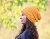 Slouchy hat women, Slouch knit hat for women, Mustard Beanie Hat, Mustard knit hat, Slouchy beanie, Women slouch hat, Mustard slouch beanie