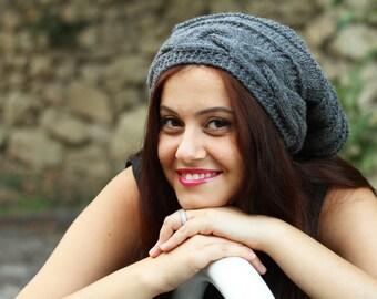 Grey Slouch hat, Slouch knit hat for women, Grey Beanie Hat, Oversized hat, Grey knit hat women, Slouch beanie, Trendy hat