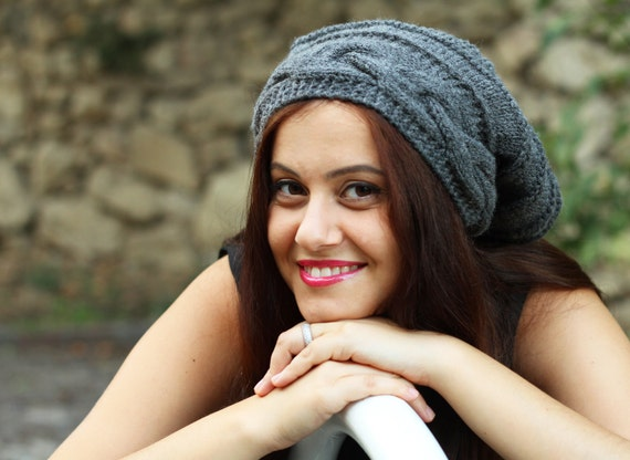 Grey Slouch hat, Slouch knit hat for women, Grey Beanie Hat, Oversized hat, Grey knit hat women, Slouch beanie, Trendy hat