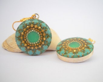 Mint Green Sterling Silver earrings Round dangle earrings dotted with Mint, golden and silvery dots, Gold filled leverback earrings