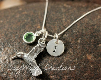 Sterling Silver Mini Initial Hand Stamped Hummingbird Charm Necklace