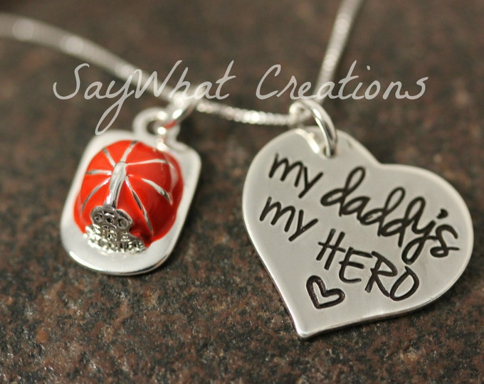 My daddy's my HERO Firefighter's Daughter Necklace Sterling Silver Hand Stamped