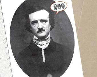 Halloween Card -  Edgar Allan Poe Boo  5 x 7 Greeting Card