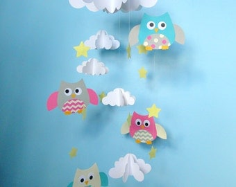 Baby Mobile, Owls and Clouds Hanging Mobile, Owl Nursery Mobile