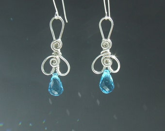 Turquoise blue silver earrings, sterling silver jewelry, crystal wedding, summer bridal bridesmaides earrings