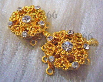 2p Rhinestone Single 3-strand 18K Gold Plated Clasps Findings L019 for Jewelry Making Supplies Diamond Look Diamante Double Strand multi