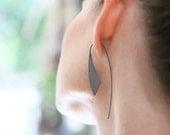 Black silver African earrings, long black earrings, statement oxidized silver earrings, black tribal earrings, black earrings