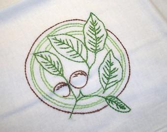 Dish Towel (Tea Towel) Walnut Branch with Walnuts Cotton Flour Sack Dish Towel Hand Embroidered Dish Towel