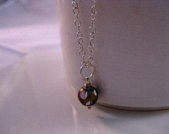 Purple Rainbow Shimmer Czech Glass Bead  Minimalist Sterling Silver Necklace
