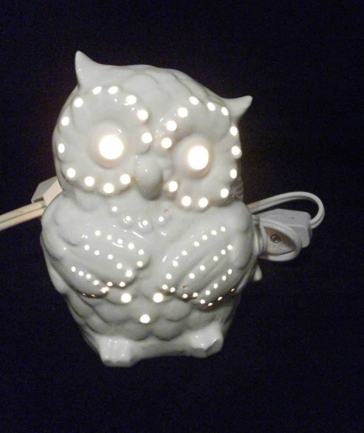 Ceramic Small Owl Night Lite Lamp By Strokesofmadness