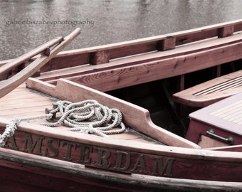 "Amsterdam Photography, Fine Art  Prints and Mounted, Amsterdam Canal Boat, Brown Tone, Travel Photography - ""Amsterdam"""