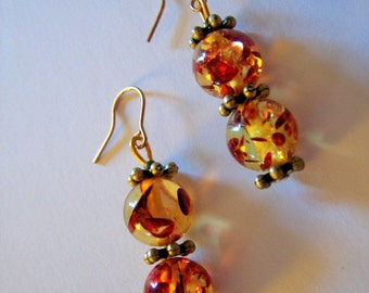 AMBER DROP EARRINGS with Gold Plated Hooks for Pierced Ears