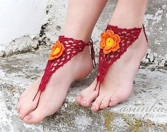 Crochet  Barefoot Sandals, Burgundy Nude shoes, Foot jewelry, Lace, Sexy, Yoga, Anklet, Bellydance, Steampunk, Beach Pool