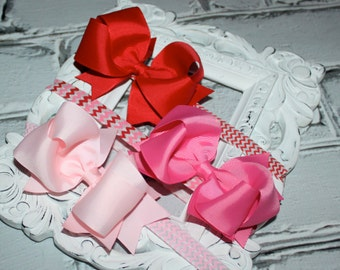 Boutique Baby Girls Set of 3 Pink Red Hot Pink Large Hair Bow on Chevron Elastic Headband..Perfect for Photo Props Valentines Day