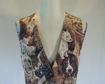 Adorable Dog Print Tapestry Vest Top Shirt