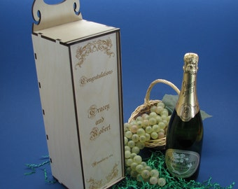 Wood Champagne Gift Box or Champagne Caddy