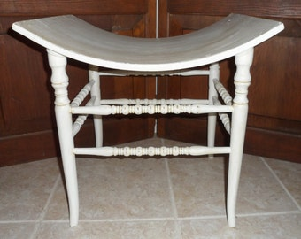 Antique Shabby Chic'd White Bustle Bench Country Cottage Vanity Stool Seat Chair