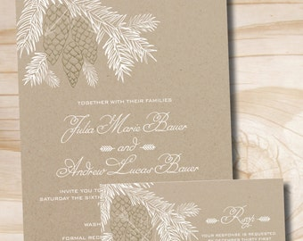 RUSTIC PINECONE FIR Wedding Invitation / Response Card /  Rsvp Invitation Suite