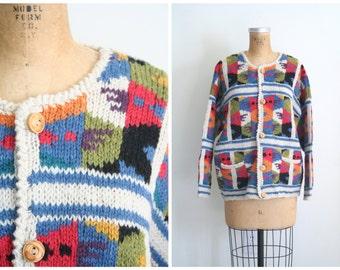 vintage hand knit wool patchwork cardigan sweater / Preppy - Aztec design - Southwestern style sweater / vintage 80s cardigan
