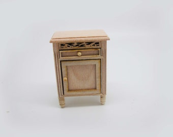 Miniature dollhouse furniture bedside table with drawer and door unpainted - code 3015
