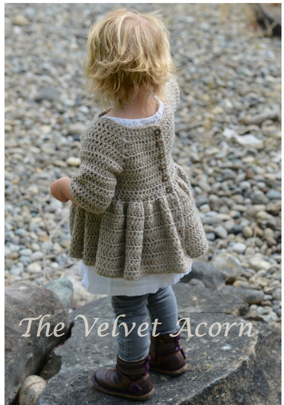 Knitting Pattern Cardigan 4 Year Old : CROCHET PATTERN-The Rufflyn Cardigan 3/4 5/6 7/8 9/10