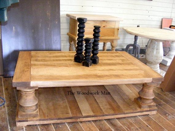 solid maple wood balustrade coffee table beautiful old wood. Black Bedroom Furniture Sets. Home Design Ideas