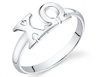Sterling Silver Chi Omega Letter Ring