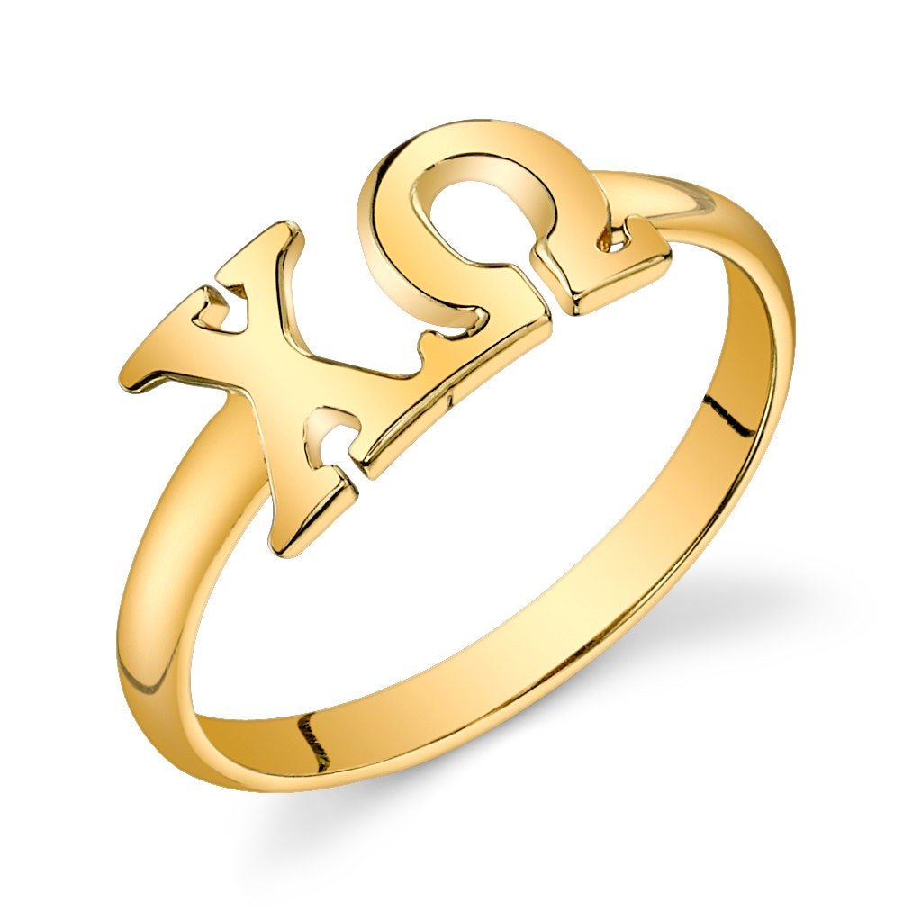 B Letter In Gold Ring Gold Vermeil Chi Omega...