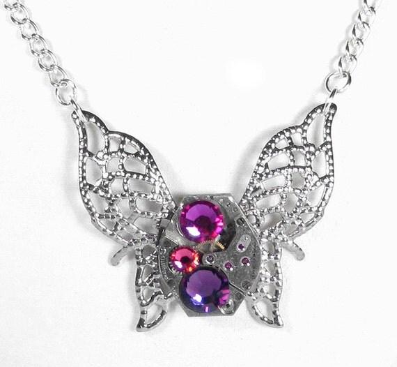 Steampunk Jewelry Necklace Vintage Watch Victorian Silver