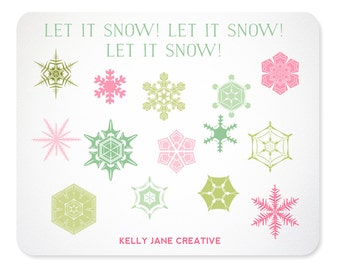 Pastel Snowflake Clipart - Instant Download Includes PNG and EPS files