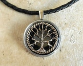 Tree of Life Necklace: Black - Mens Jewelry - Celtic Jewelry - Mens Necklace - Boyfriend Gift - Earth Day - Tree Jewelry - Leather Cord