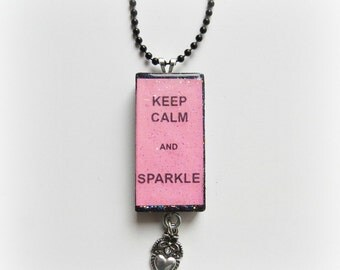 Keep Calm and Sparkle Domino Necklace