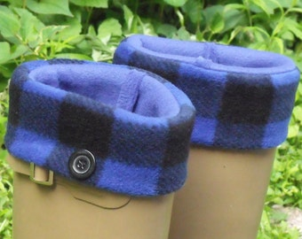New Collection, Fleece Rain Boot Liners, Blue Check Cuff , Black Sock, Button Embelishment, Outdoor,Woodland,Size Sm/Med 6-8 Boot size