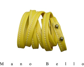 Soft Leather Wrapping Bracelet Cuff, Saffron Yellow, Multi Strand Leather Bracelet, in stock