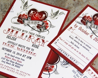 Rockabilly Wedding Invitations,Rockabilly sparrow and roses,Steampunk heart wedding invitations,50's tattoo,sparrow,rock-a-billy, steampunk